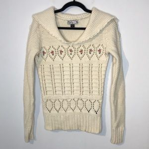 Volcom wool blend cut out embroidery sweater